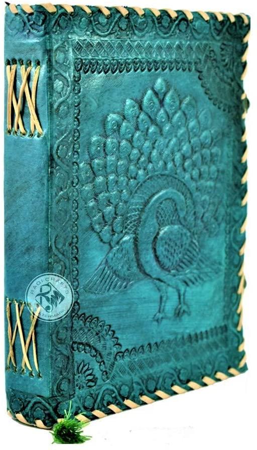 Premium Leather Journal Notebook - Vintage Handmade   Emboss Celtic Dancing Peacock. Notebook Sketchbook Spells Book Travel Diary Gift Man Woman 8x6in Turquoise