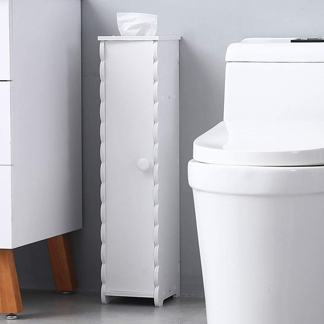 Storage Narrow Cabinet Bathroom Floor Standing High with Shelves and Doors Towel Storage Shelf for Paper Holder (6.5 x 7.7 x 26.5)