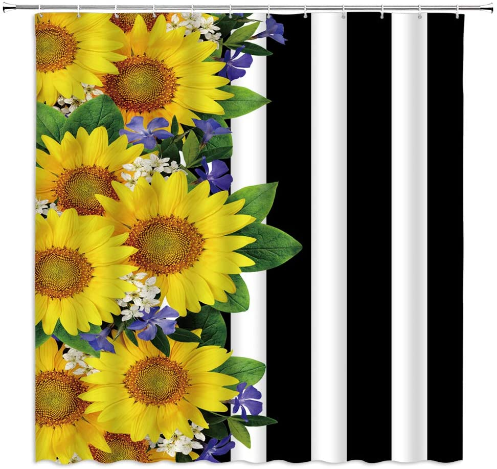 Floral Stripe Shower Curtain Sunflower Lilac Bouquet Country Wildflower Border Black and White Stripes Border Design Fabric Bathroom Decor,Hooks Included,71 X 71 Inches,Yellow Purple White