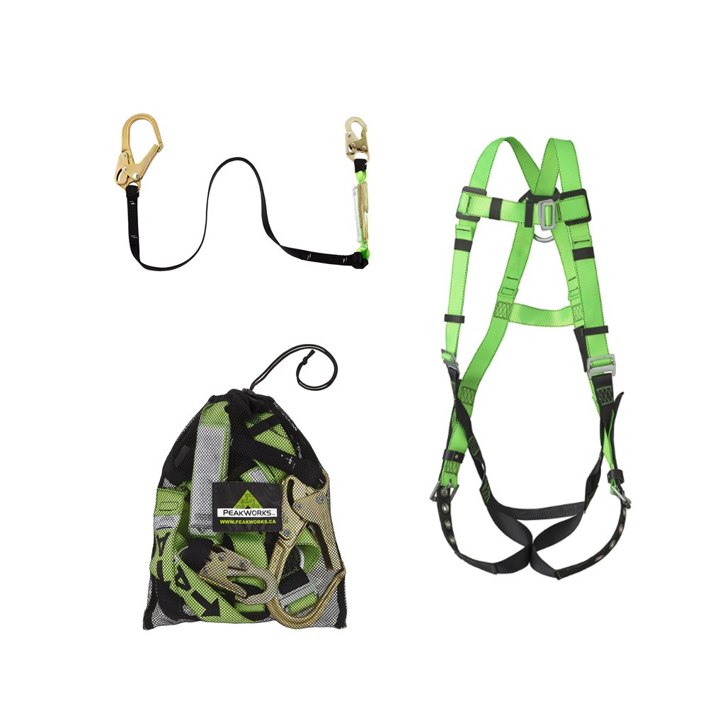 Peakworks Lightweight, Comfortable, 6 ft. Lanyard with Rebar Hook and Mesh Carrying Bag, Safety Harness (Universal Fit), Fall Protection Compliance Kit, Green, 19