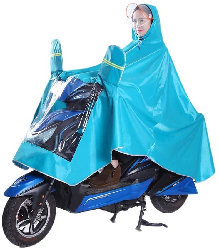 IMIKEYA Waterproof Hooded Rain Coat with Hat Brim Rain Poncho Rain Jacket Rain Cloak Rainwear Anti Saliva Anti-Spit Anti Splash Safety Coveralls for Outdoor Bike Cycling (Lake Blue)