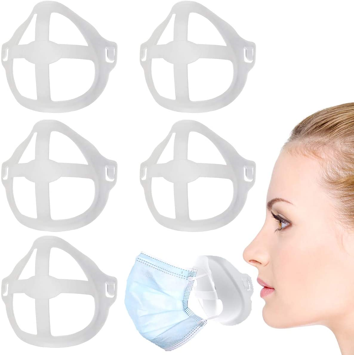 3D Mask Bracket, Mask Inner Supporter Frame Wearing Cool Bracket, Keep Fabric off Mouth More Space for Comfortable Breathing Washable Reusable Translucent White (15 PCS)
