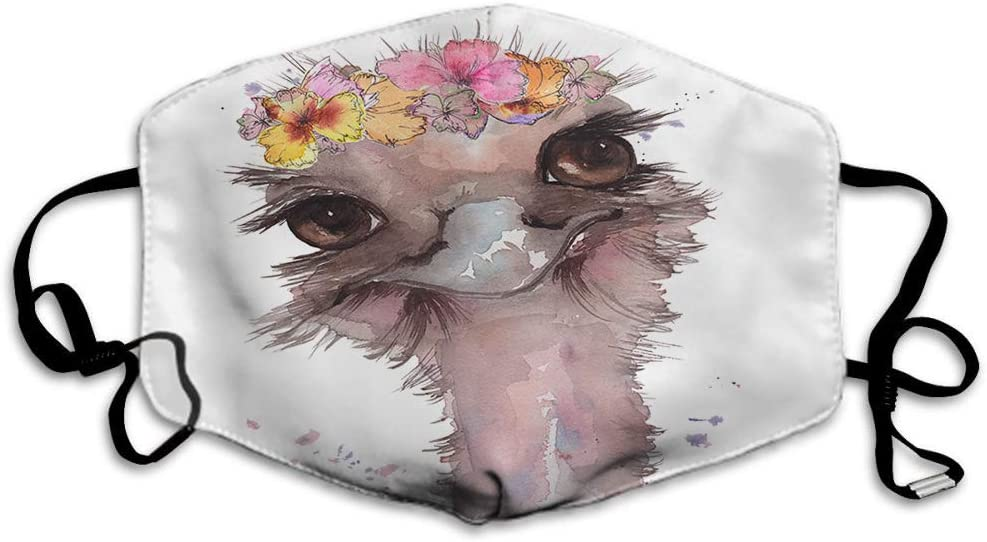 Doumku Ostrich Head With A Floral Wreath Mouth Cover Animal Petal Blot Drop Flower Bird Unisex Anti Dust Ear Loops Reusable Washable Mouth Protection Headwear