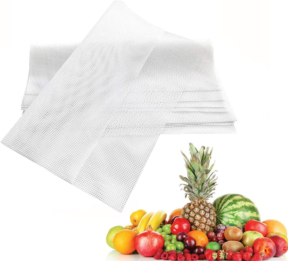 Silicone Dehydrator Sheets,Reusable Fruit Dryer Mesh,Non-Stick Fruit Dehydrator Mats,High Heat Resistant Dehydrator Tray Liners Square(6 Pack,14x14 Inch)