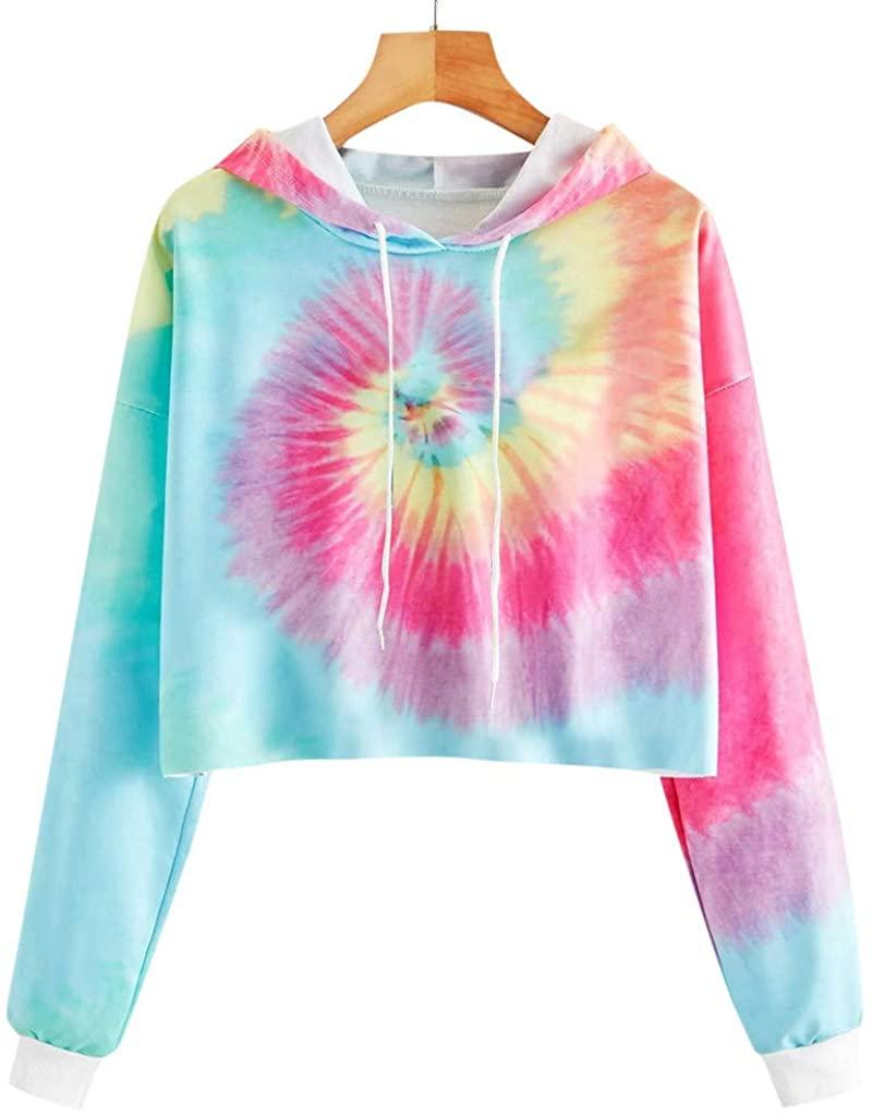 Womens Long Sleeve Pullover Sweatshirt,Ladies Pockets Hoodies Sweatshirt Tie-dye Printed Drawstring Top