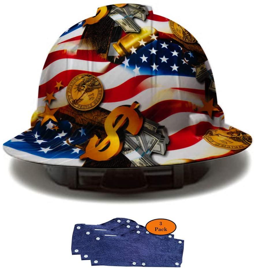 Full Brim Pyramex Hard Hat, Hydrodipped American Flag Money Design Safety Helmet 4pt + 3pk Navy Hard Hat Sweatband, by AcerPal