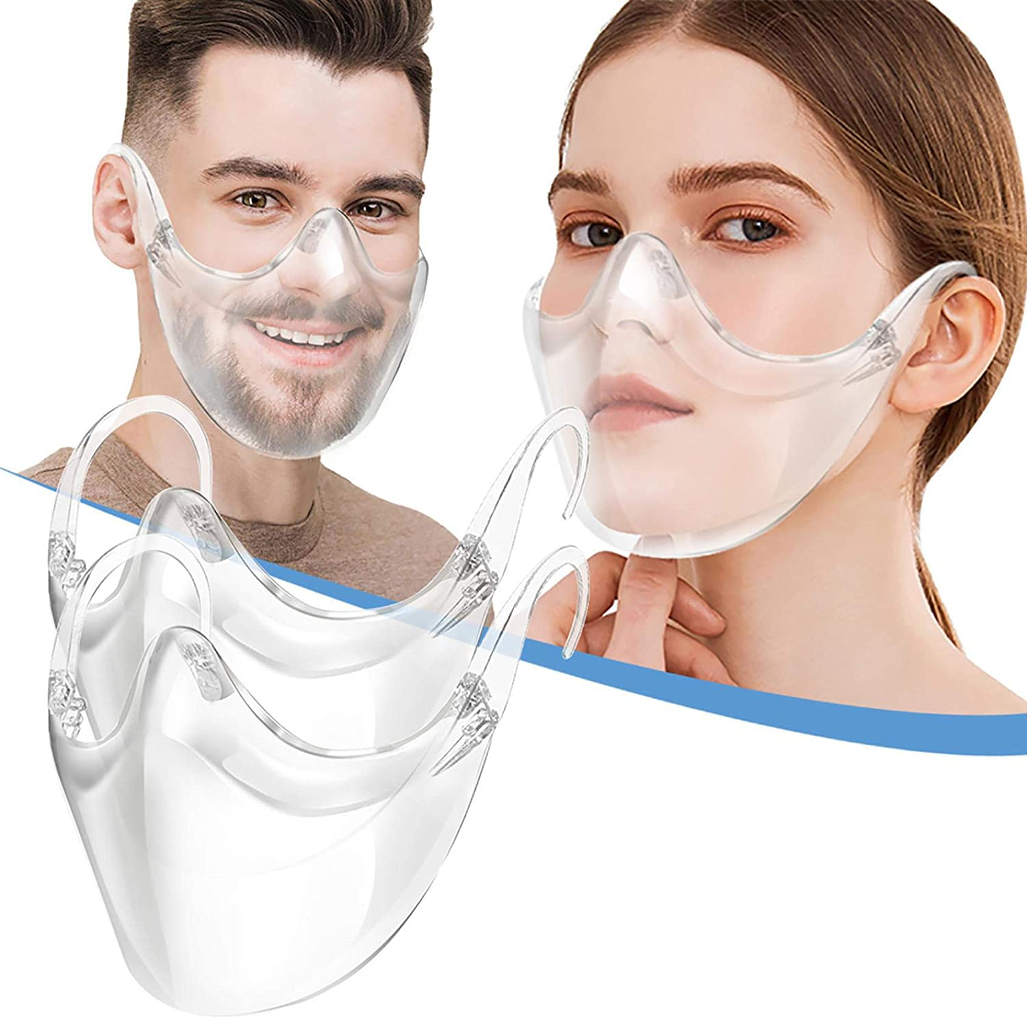 Bluego Clear Face Mask for Adult Plastic Mask with Clear Mouth Window Transparent Visible Expression Comfortable Washable Reusable Full Face Shield Protection