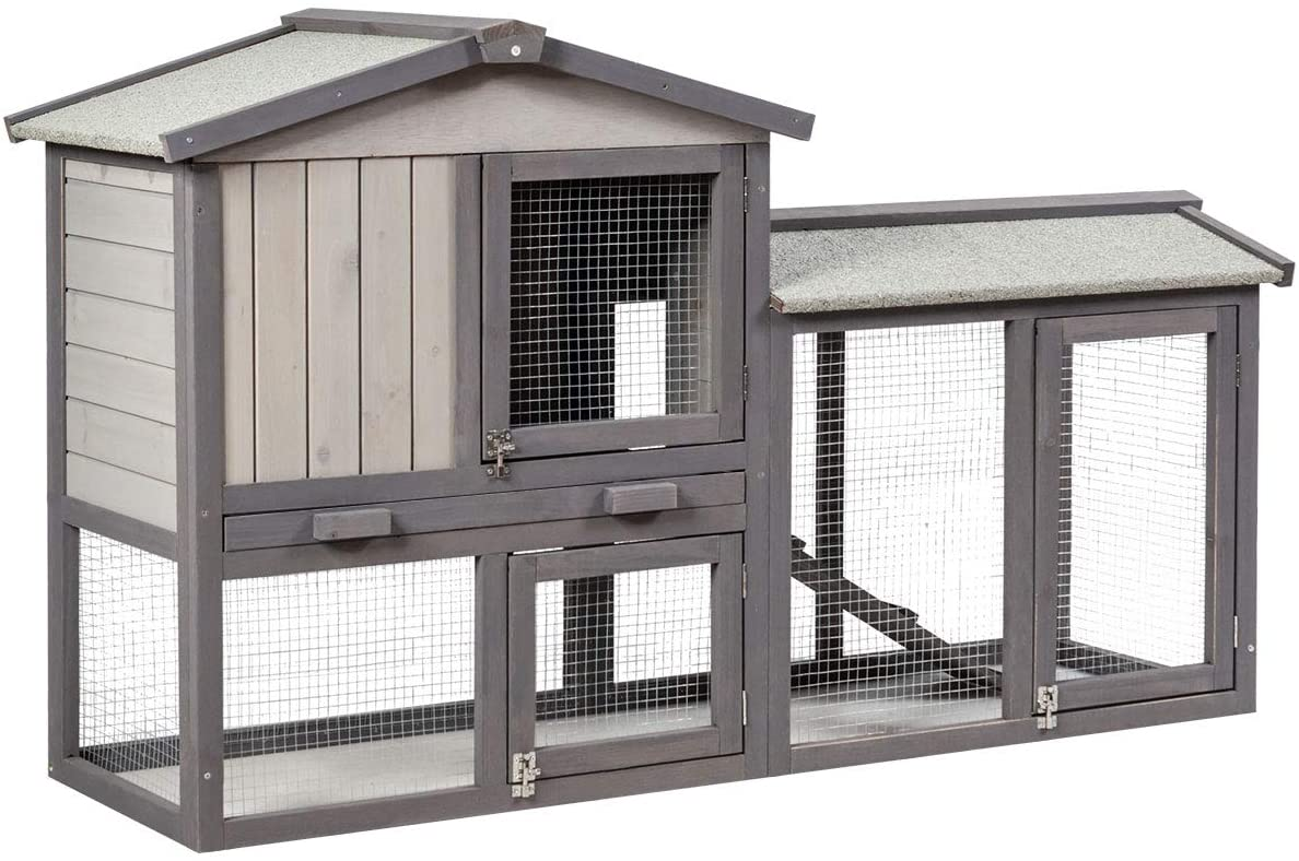 Tangkula 58'' Large Chicken Coop with Removable Tray & Ramp, Bunny Cage with 2 Floors, Wooden Rabbit Hutch with Waterproof Roof for Rabbits, Chicken and Guinea Pigs
