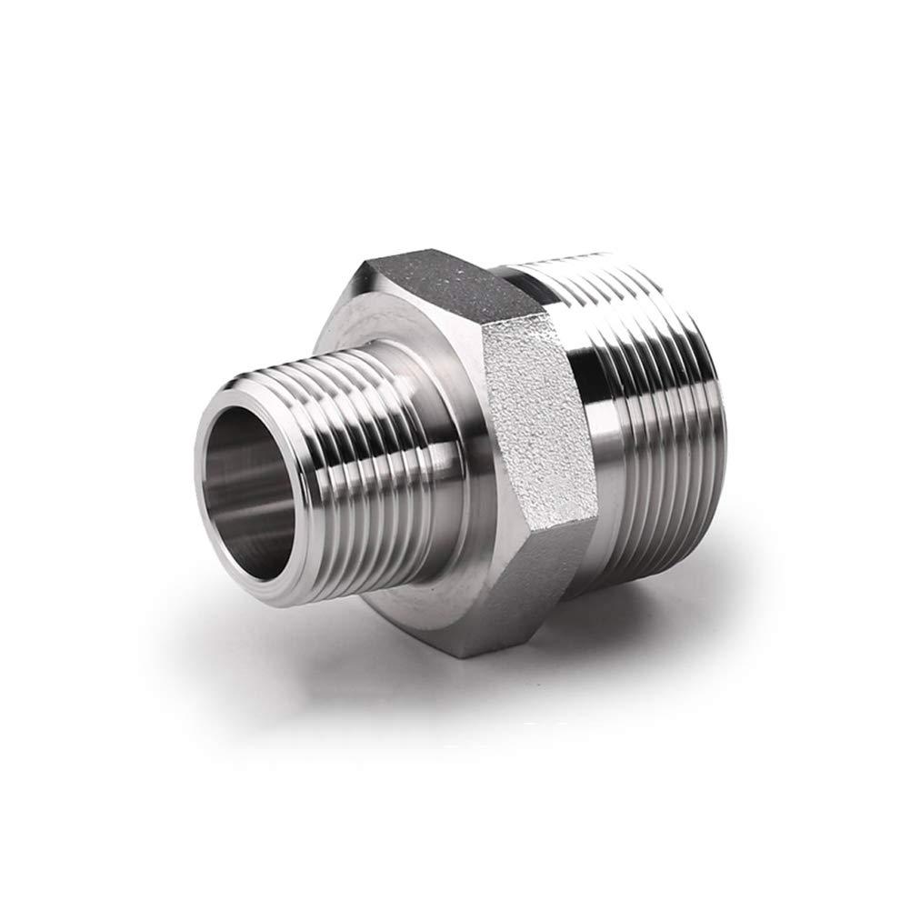 Feelers Reducing Hex Nipple, 304 Stainless Steel 3/4x 1/4 NPT Male Pipe Fitting Redecer Nipple Adapter