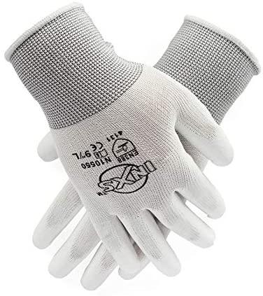 LPRED 12Pairs Polyester Nylon PU Coating Safety Work Gloves For Builders Fishing Garden Work Non-slip gloves (S,N10550)