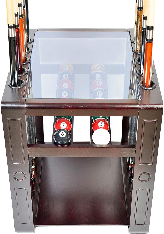 Iszy Billiards - Pool Cue Rack Only - 10 Billiard Stick & Ball Set Floor Holder Choose Mahogany, Black or Dark Oak