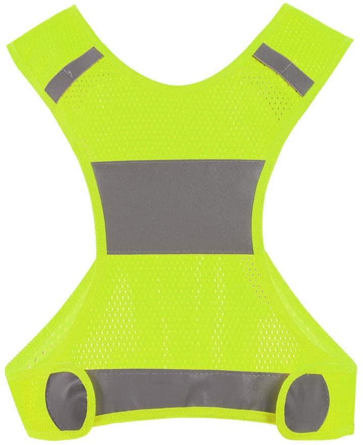 Demeras Reflective Vest Outdoor Lightweight Safety Vest Adjustable Waistcoat with Pocket for Jogging Biking Walking Running Sports