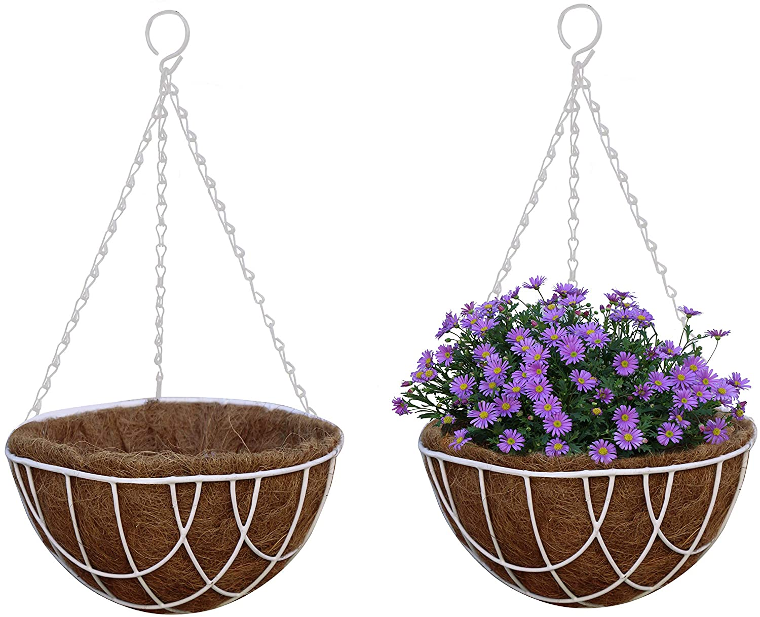 TABOR TOOLS MT2103A 2-Pack Metal Hanging Planter Basket with Natural Coconut Coir Liner, Chain and Hook Included (Wire 12'', White)