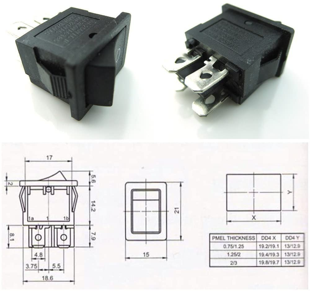 CESS Hull Shape Snap-in KCD1-104 4 Pin ON-OFF Switch (2 PACK)