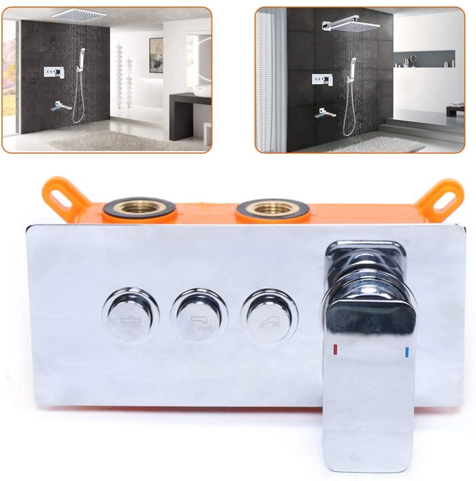 DYRABREST 3-Ways Shower Diverter Wall Mounted Stainless Steel 3 Handles Bathroom Shower Mixer Faucet Control Valve Tap