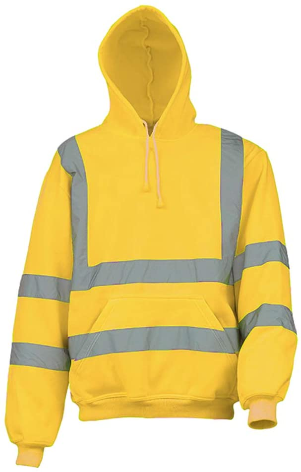 Meijunter High Visibility Hooded Sweatshirt - Men's Reflective Safety Security Two Tone Jumper Jacket Band Hoodies