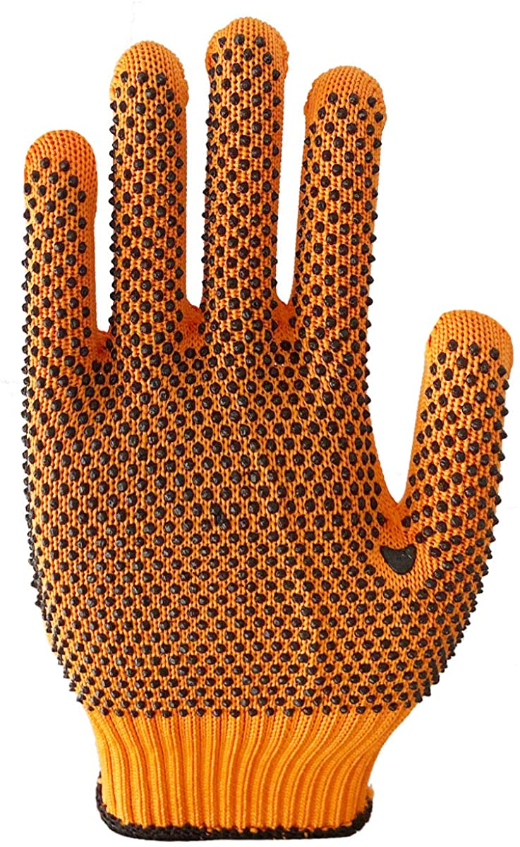 TCReal 12 Pairs Polyester Thicken PVC Dot Beads Wear Resistant Breathable Protective Gloves Work Gloves