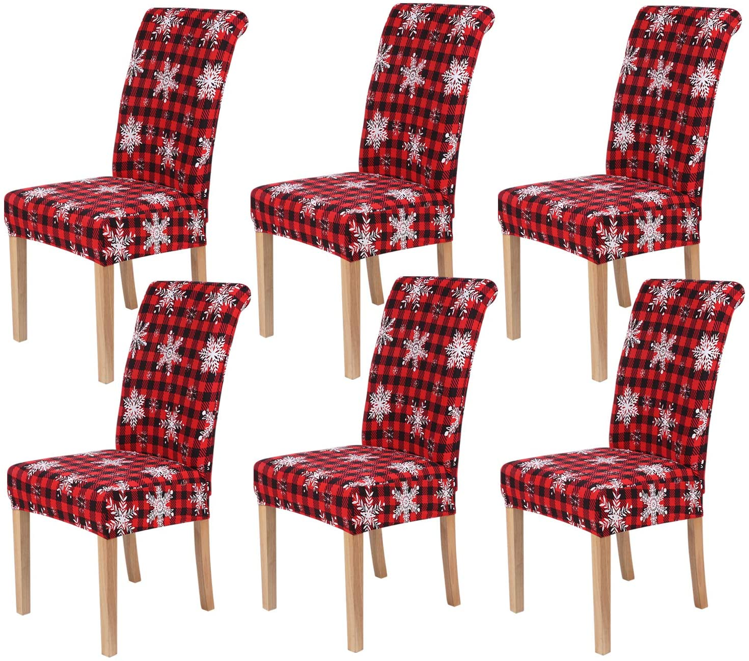 smiry Stretch Printed Dining Chair Covers, Spandex Removable Washable Dining Chair Protector Slipcovers for Home, Kitchen, Party, Restaurant - Set of 6, Retro Plaid