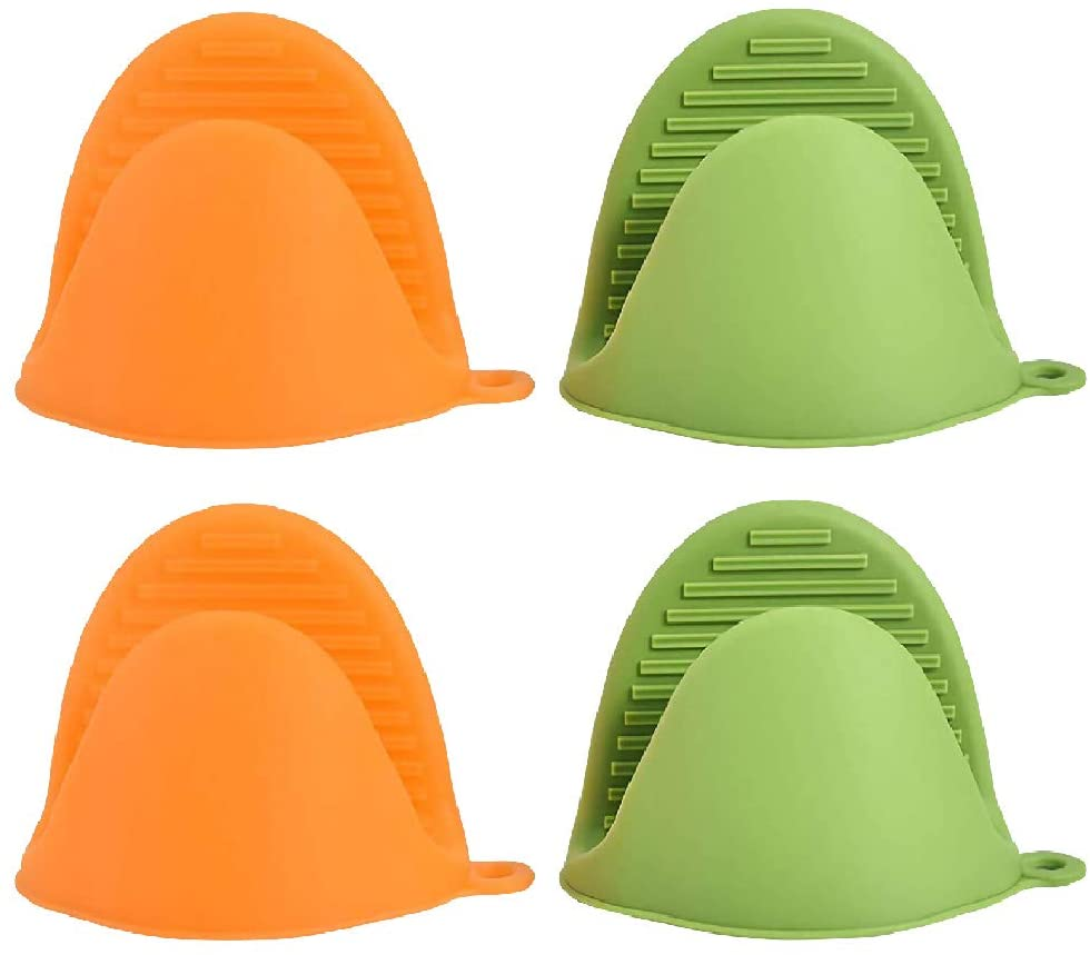 ANMAIKER 4 Pcs Mini Silicone Oven Mitts,Heat Resistant Cooking Mitts for Kitchen Cooking and Baking (2 Green + 2 Orange)