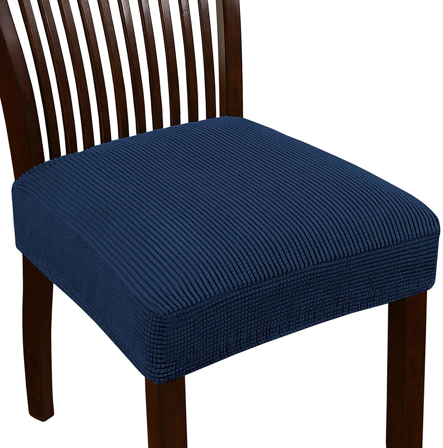 Dining Chair Seat Cover Stretch Seat Covers for Dining Room Chairs Jacquard Dining Room Chair Seat Covers Set of 6 Removable Chair Seat Cushion Slipcovers for Dining Room (6 Pack, Navy)