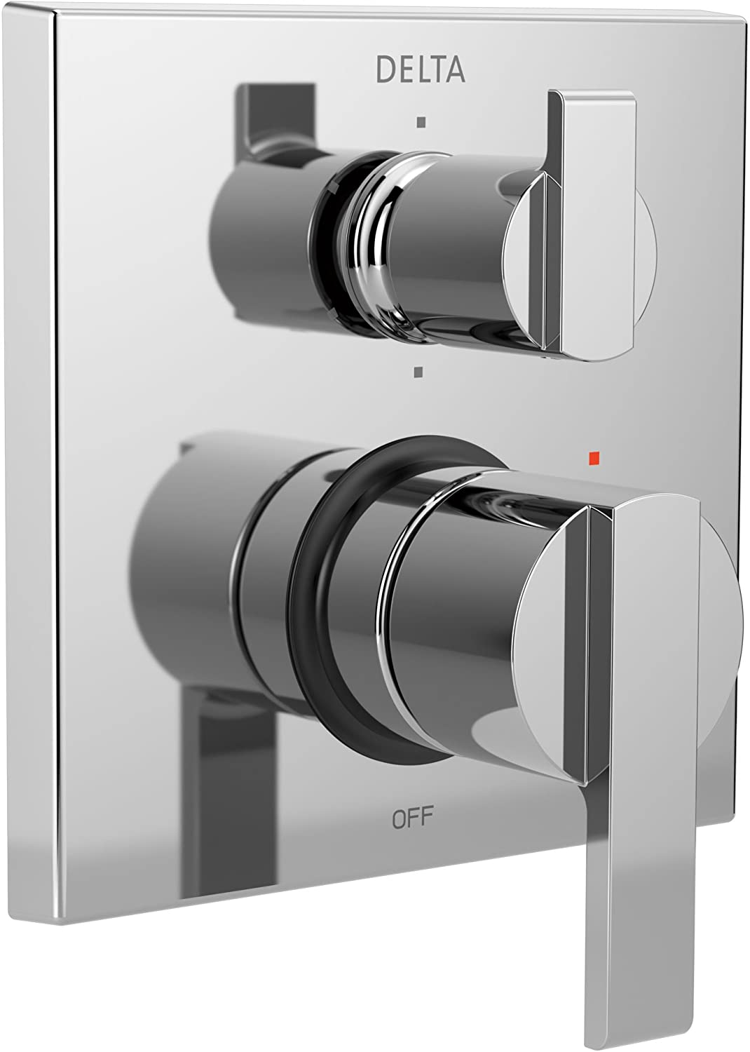 Delta Ara Chrome Angular Modern Monitor 14 Shower Faucet Control Handle with 6-Setting Integrated Diverter Includes Trim Kit and Valve without Stops D2194V