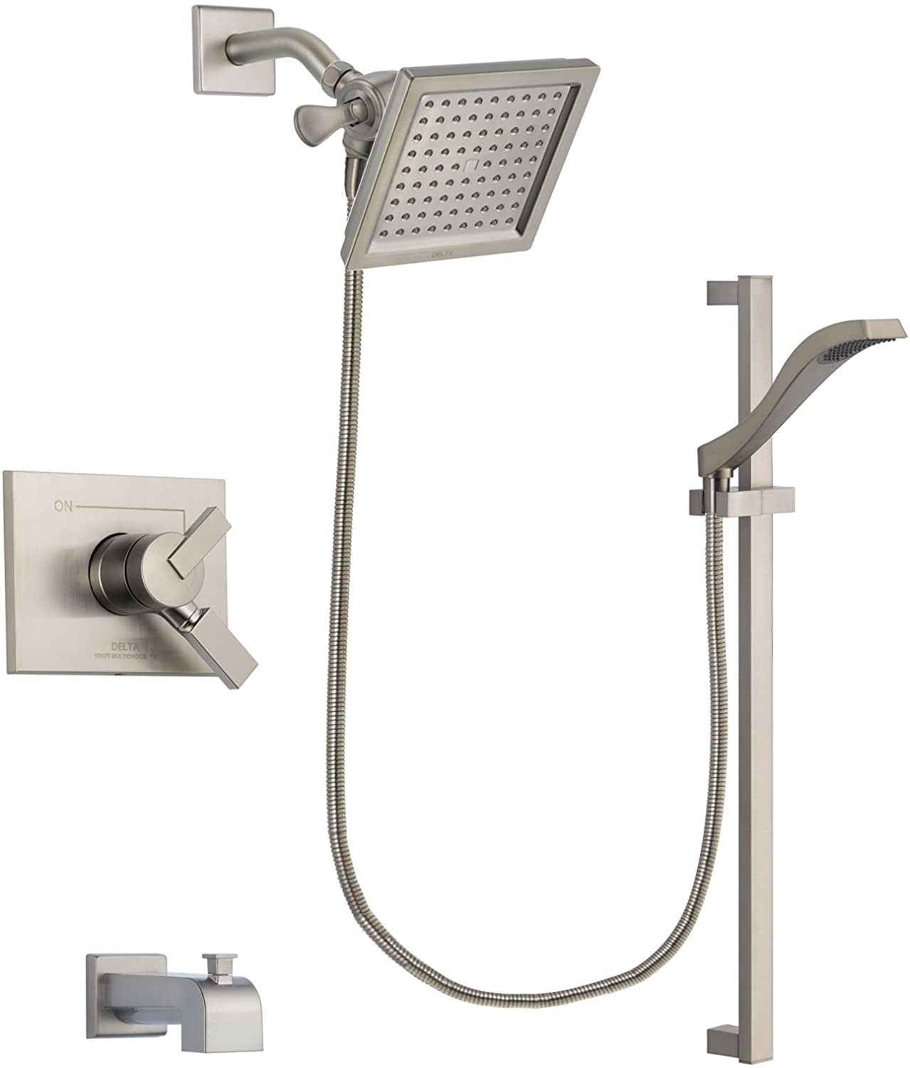 Delta Vero Stainless Steel Dual Control Tub and Shower Faucet System Package with 6.5-inch Square Rain Showerhead and Handheld Shower with Slide Bar Includes Rough-in Valve and Tub Spout DSP2251V