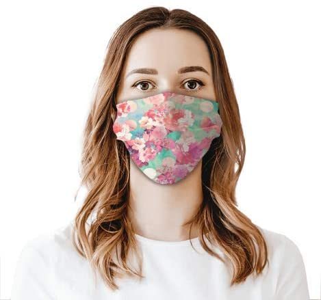 Pink Flowers Face Shield Mouthcloth Face Scarf Mask Men Women Washable Anti-Dust Unisex
