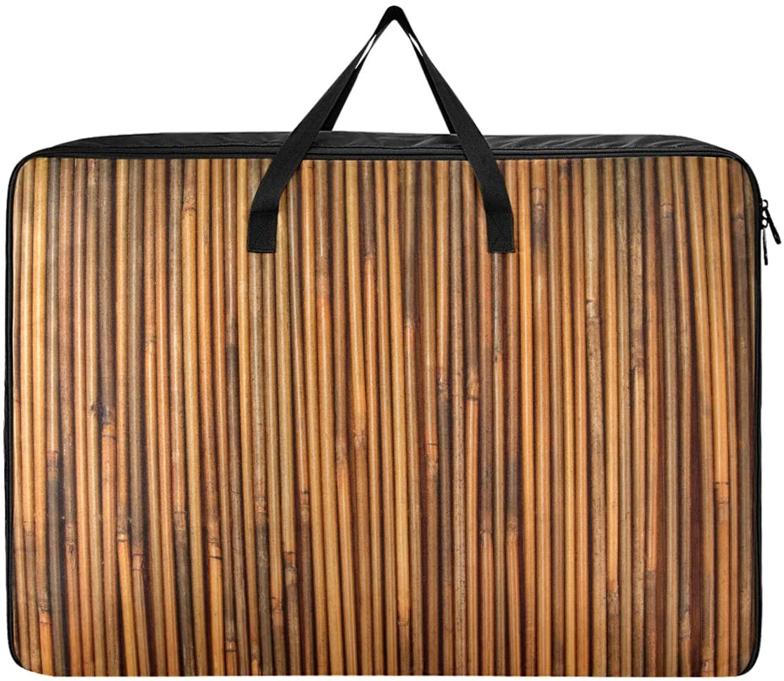 ALAZA Large Capacity Storage Bag Organizer, Vintage Bamboo Texture Foldable Thick Closet Storage Boxes with Reinforced Handle for Closet, Comforters, Blankets, Bedding, Clothing