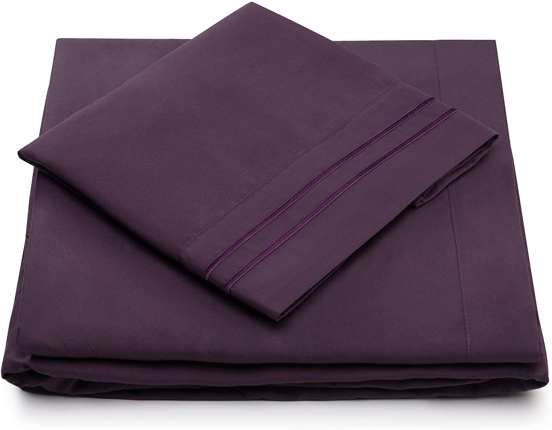 Split King Sheets for Adjustable Beds - Split King Bed Sheet Sets - Deep Pocket - Super Soft Hotel Bedding - Cool & Wrinkle Resistant - SplitKing Sheets (Split King, Purple)