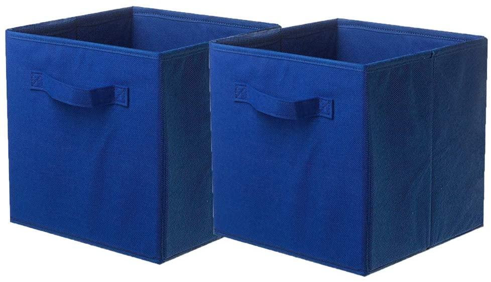 ShellKingdom Storage Bins, Foldable Fabric Storage Cubes and Cloth Storage Organizer Drawer for Closet and Toys Storage,2 Pack(Dark Blue)