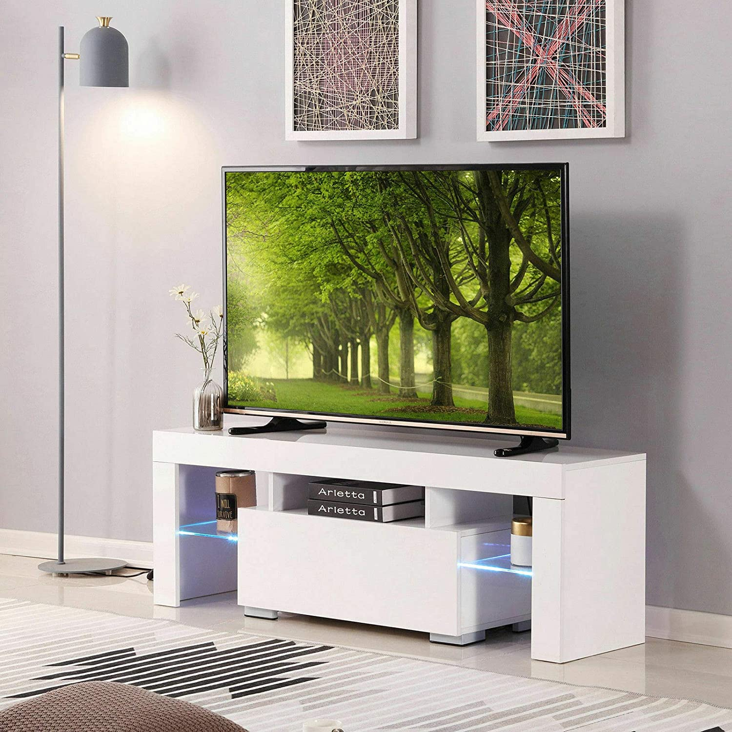 Qinghongkeen TV Cabinet, Modern White TV Stand 51 High Gloss Cabinet Console Unit Furniture with LED Shelve 2 Drawers, Shelves Entertainment Center Living Room Furniture, TV Stand Media Cabinet