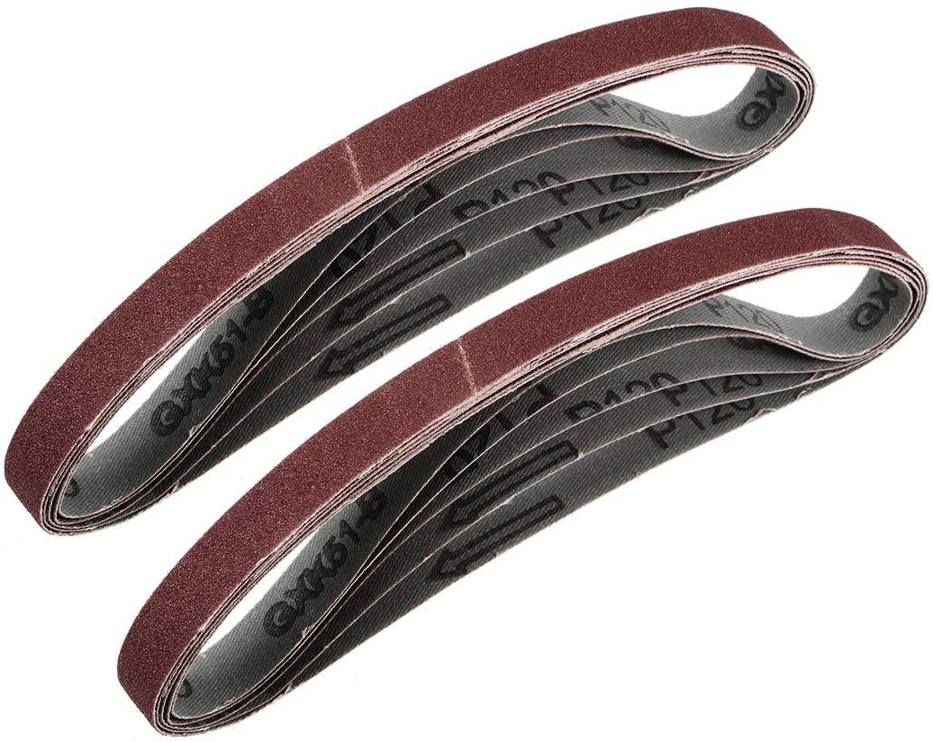 uxcell 5/8 x 18 Inch Sanding Belt 120 Grit Aluminum Oxide Sand Belts 10pcs