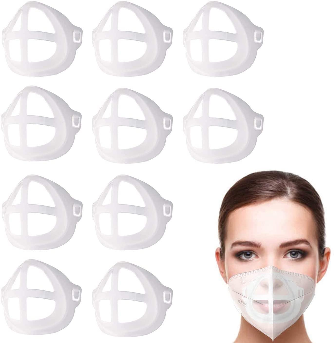 [10 PCS]3D Face Bracket Internal Support Frame,Breathable Face Inner Support Bracket,Reusable Face Lipstick Protector,Clear