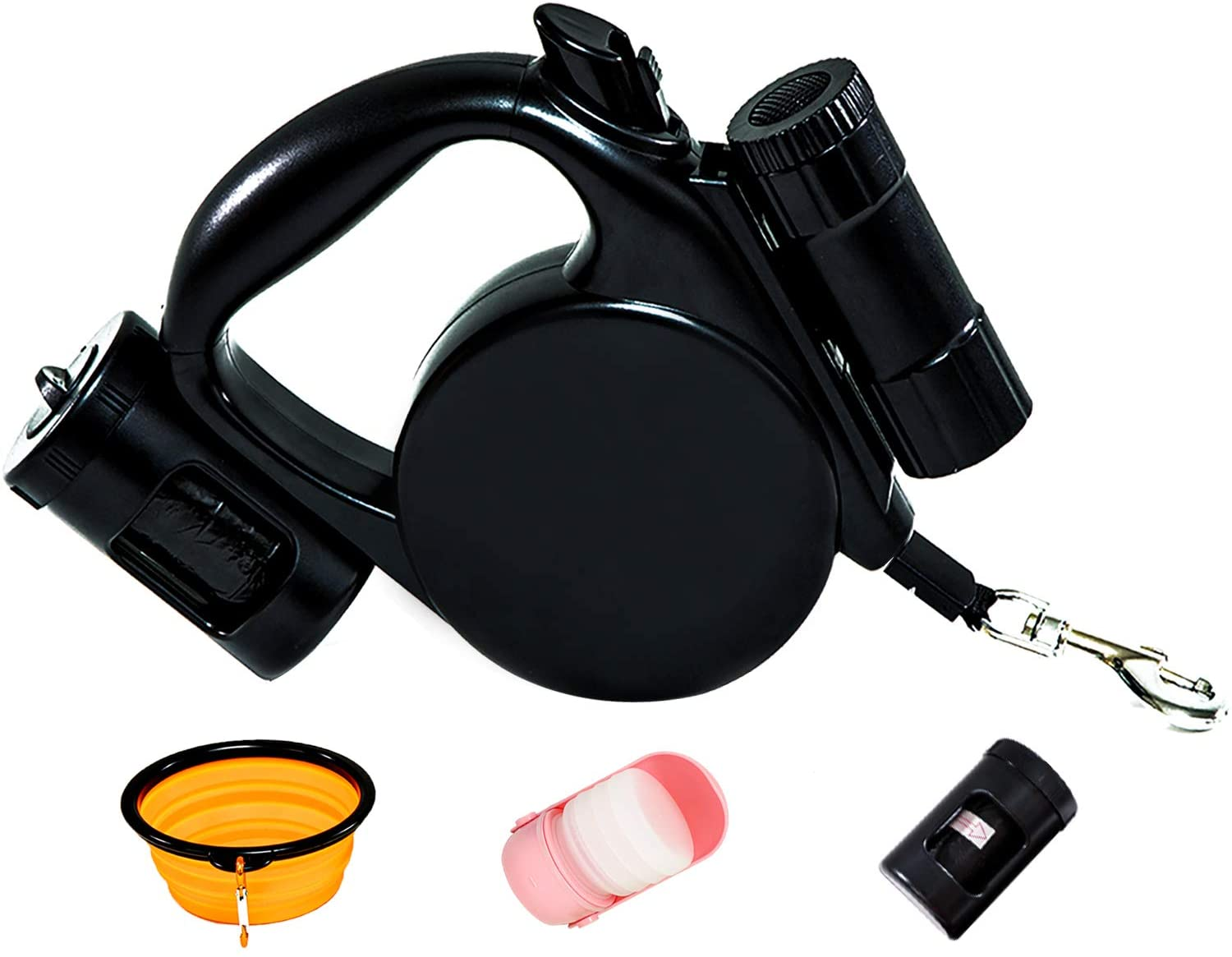 Retractable Dog Leash + Dog Bowl + Dog Water Bottle Bundle w/ 360° Tangle Free and One Hand Brake Pause Lock 16Ft Dog Leash for Small/Medium/Large Puppies (20 Poop Bag + Flashlight Included)