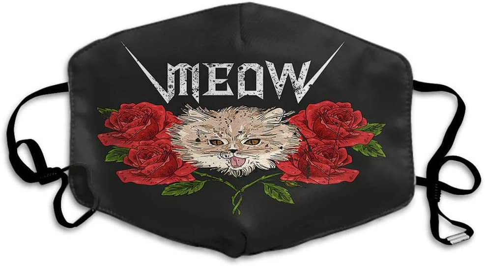 Doumku Rock Cat Mouth Cover Roll Rose Flower Floral Kitty Meow Red Slogan Unisex Anti Dust Ear Loops Reusable Washable Mouth Protection Headwear