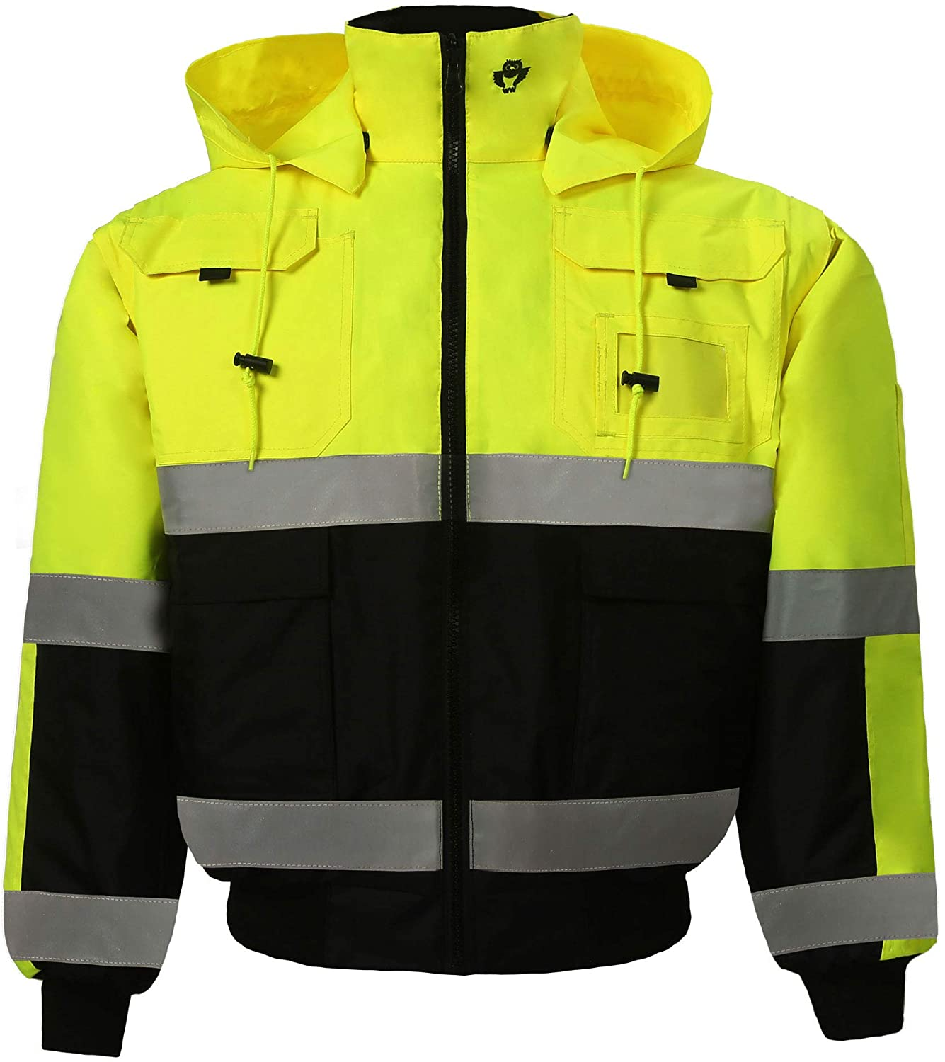 High Viz Reversible Bomber Jacket for Men and Women Waterproof Winter Safety Work Coat Two Tone Ansi Class 3 (Small, Lime/Black, 1 Piece)