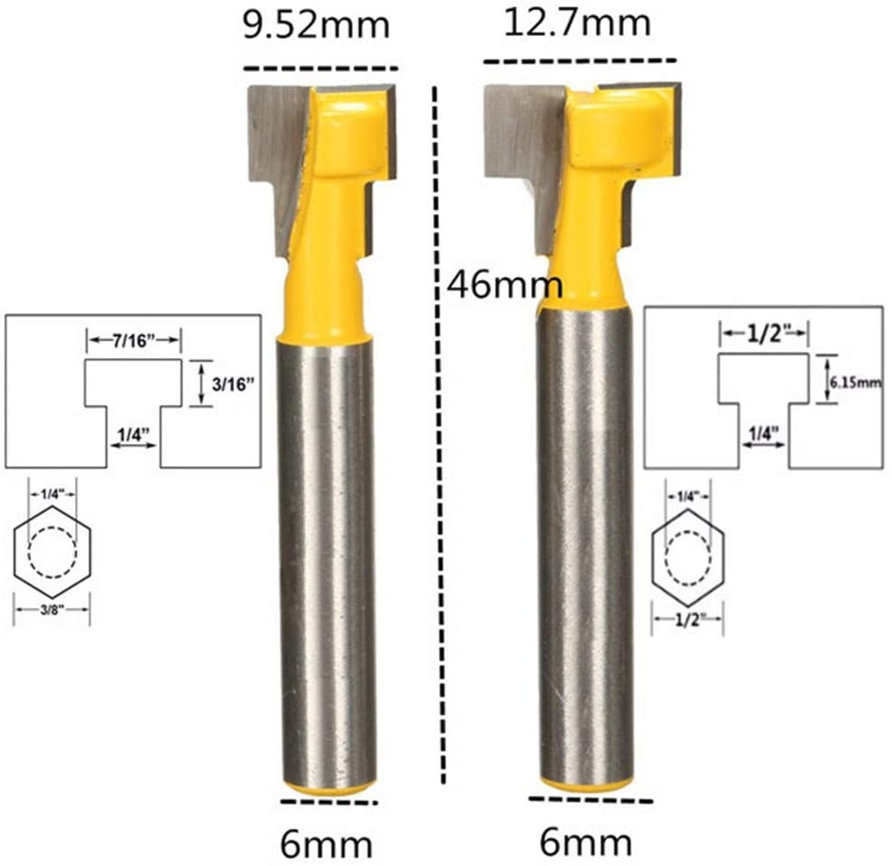 Vafany 2pcs 9.52mm and 12.7mm Key Hole Blades T-Slot Cutter Wood Working Router Bits Set