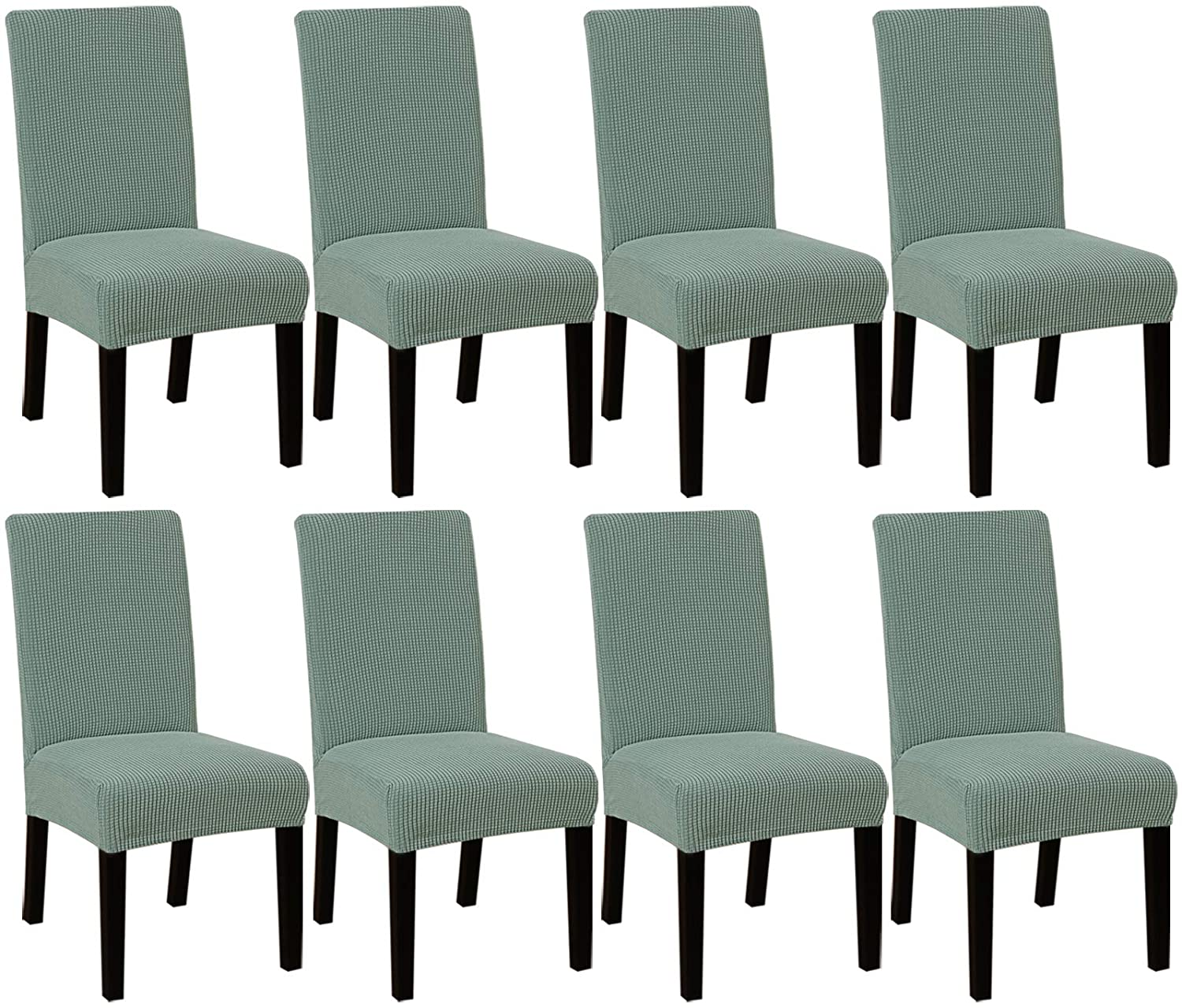 High Stretch Dining Chair Covers for Dining Room (Set of 8) Parson Chair Slipcovers for Wedding Hotel Ceremony | Easy Fitting Removable Dining Chair Covers Feature Textured Jacquard Fabric - Sage