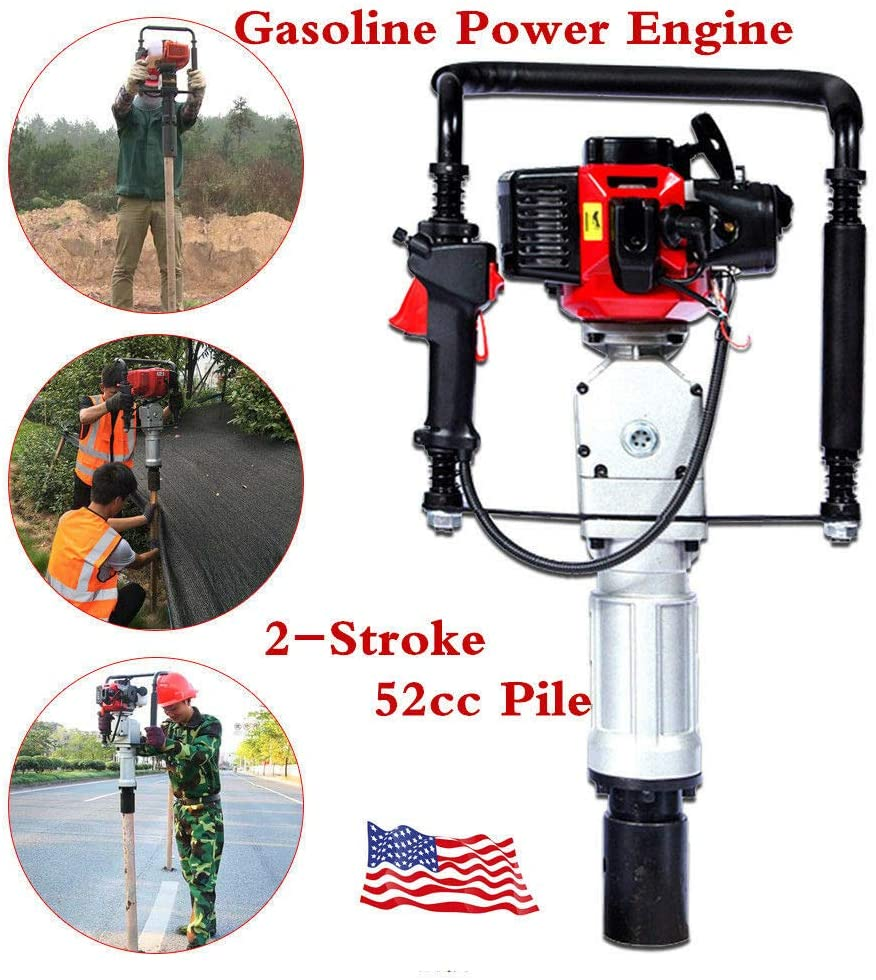 Pile Driver Hammer, 2 Stroke 52CC 2.3HP Gas Powered T Y Post Driver Hammer Drills Engine Air Cooling Single Cylinder Petrol Garden Fencing Tool Machine with 2 Post Driving Head US Stock
