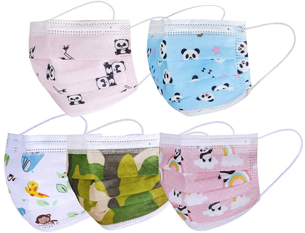 Face_mask 50PC Cartoon Pattern Children's Disposable 3-Ply Ear Loop Facemask