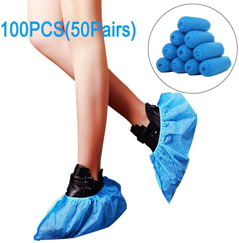 100 PCS DisposableIndoorsShoeCoverNonSlipDurableNon-WovenShoesCoverForOutdoorSupermarkets 100