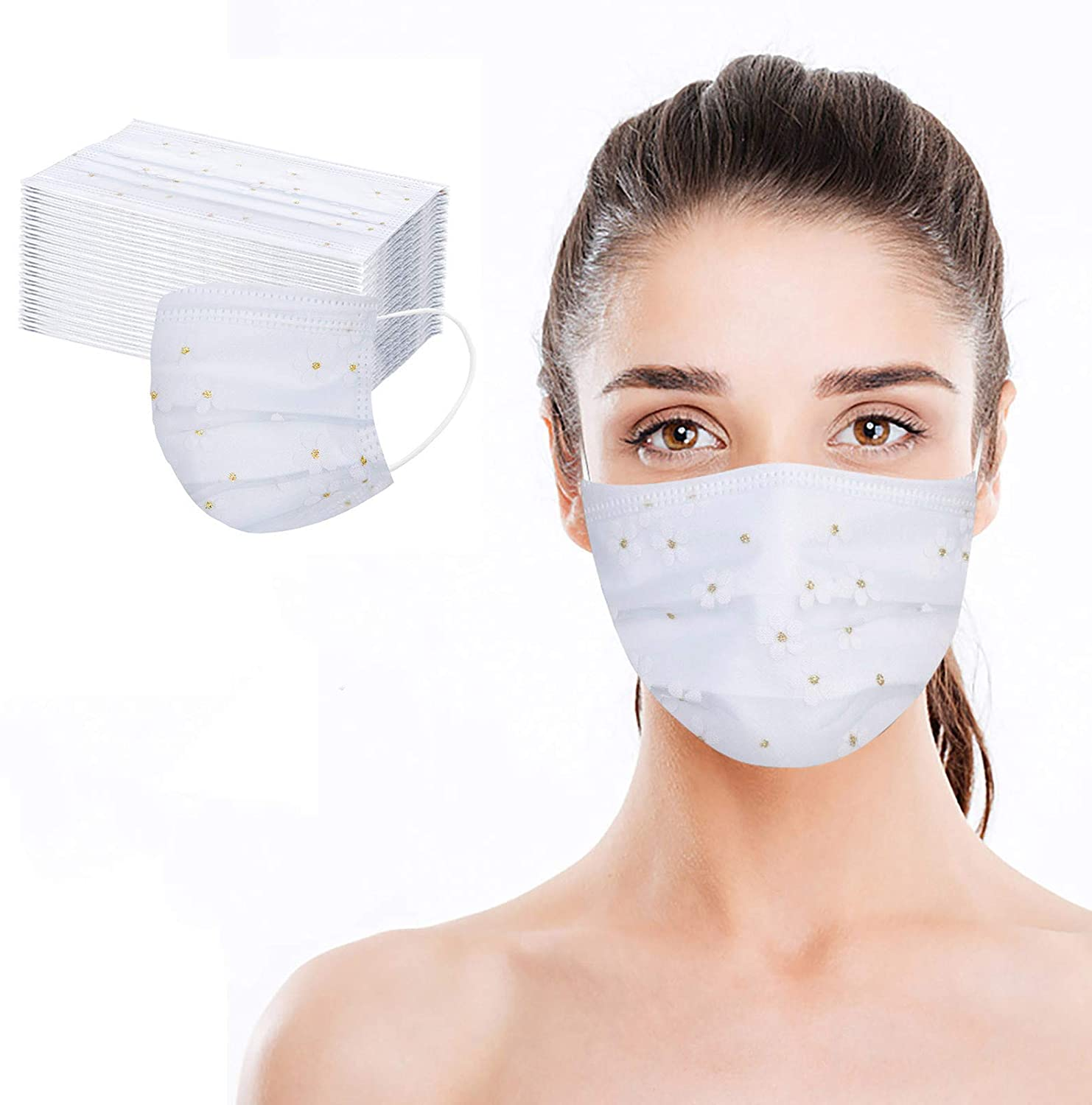 Celendi - 4-Layer Disposable Safety Face_Masks, Unique Net Yarn Designed, Non-Woven Thick and Breathable with Comfortable Elastic Earloop, Mouth and Nose Protection, Adults Size (30 Pcs)