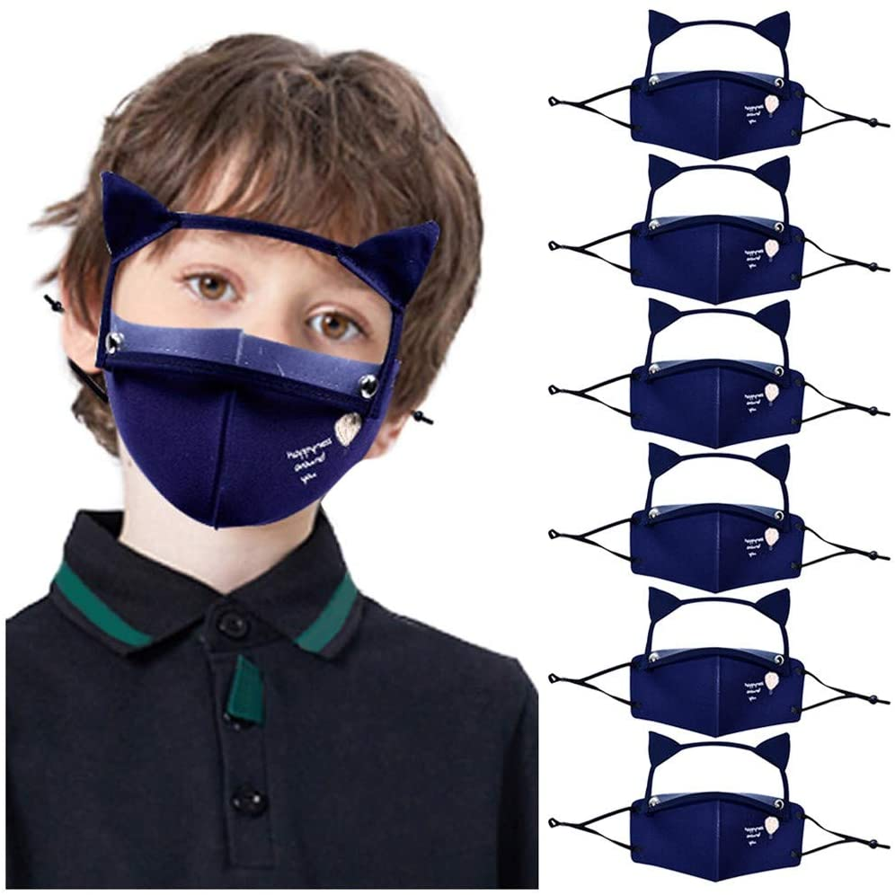 6PC Reusable Kids Face Protective with Cute Cat Ears Detachable Eyes Protection for School Breathable Face Covering Màsc Bandanas Children Boys Girls Students Back to School Supplies, Navy