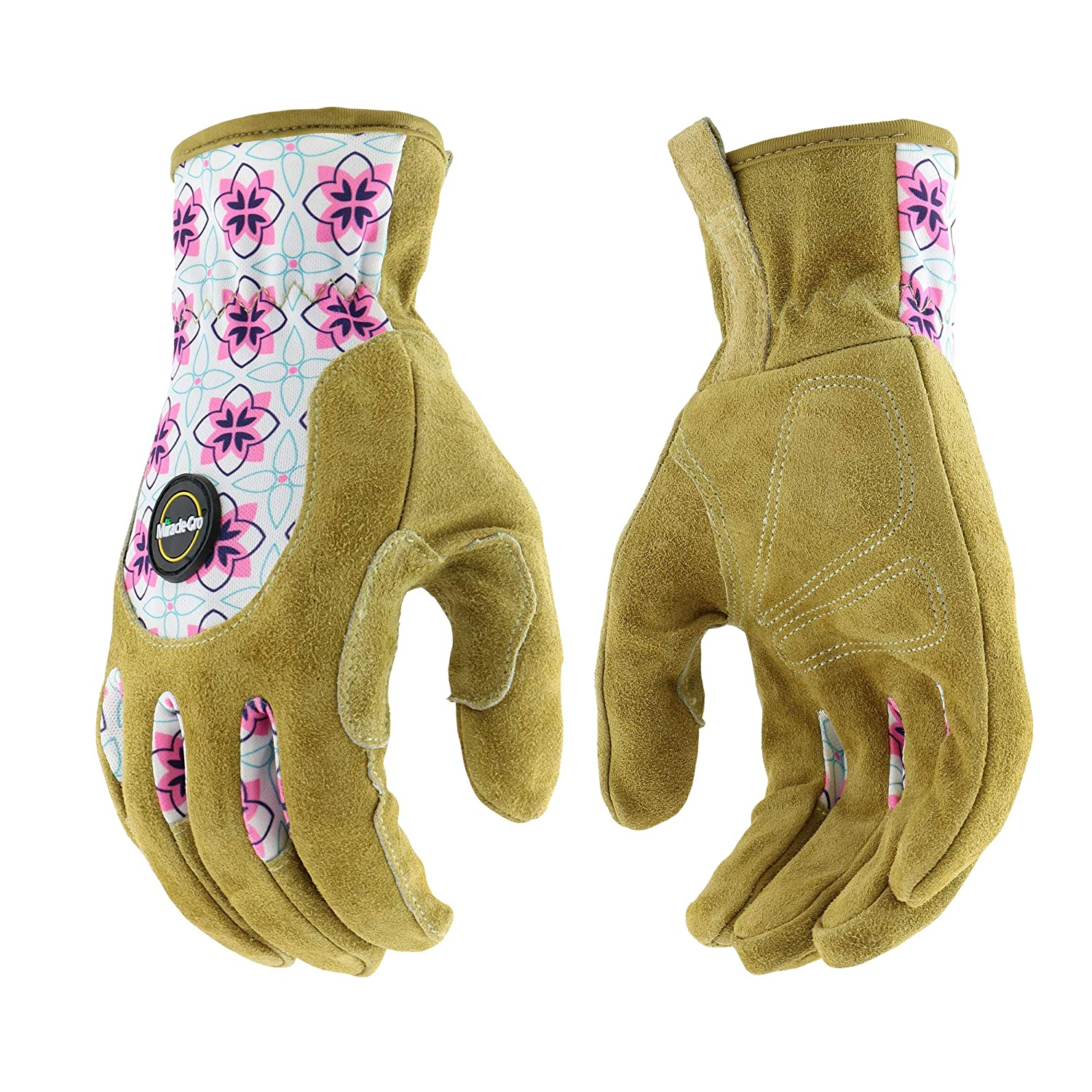 West Chester Miracle-Gro MG23081/WSM Split Leather Garden Gloves – Floral, Small-Medium, High Dexterity Spandex Back Gloves for Women