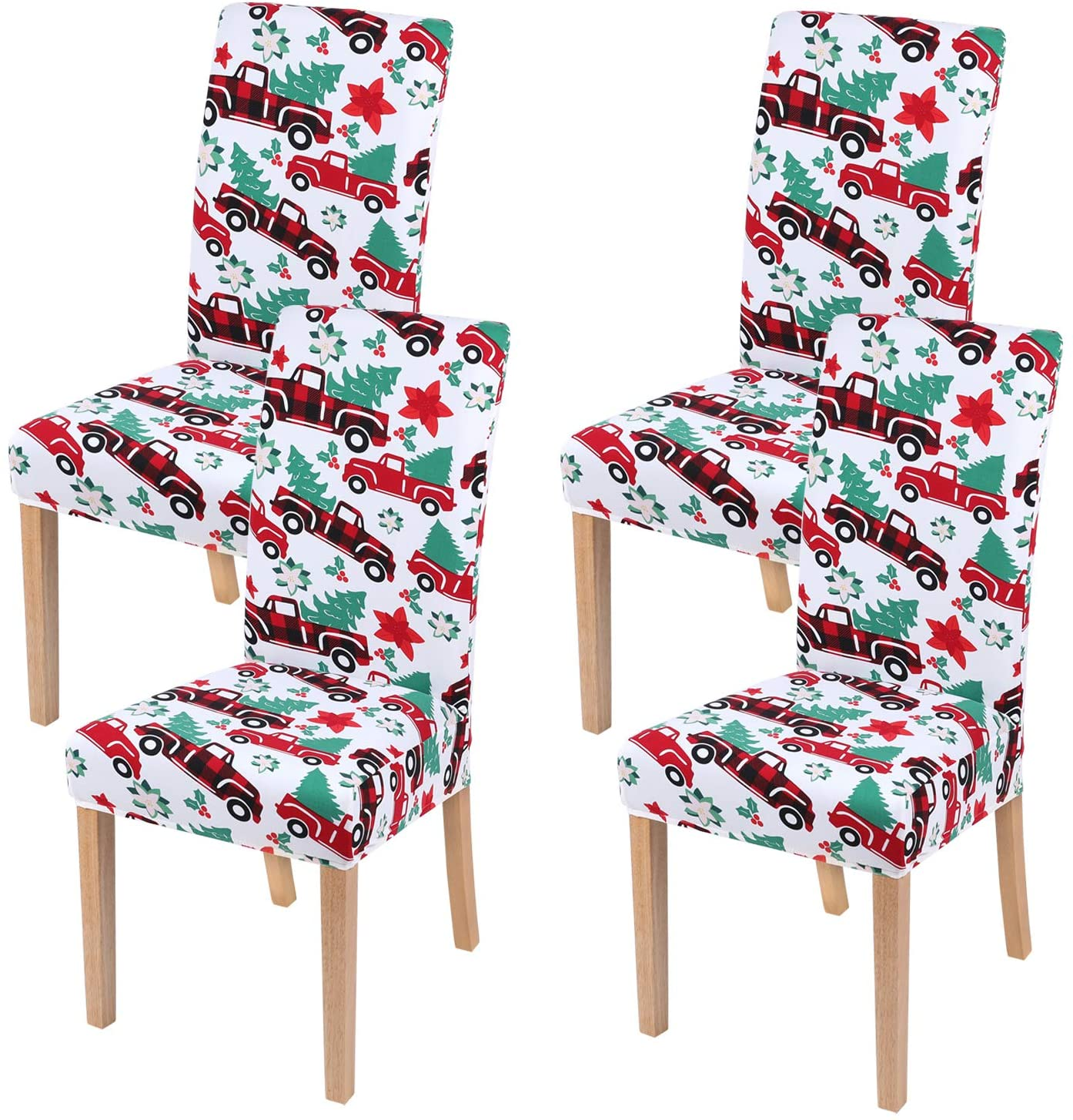 smiry Stretch Printed Dining Chair Covers, Spandex Removable Washable Dining Chair Protector Slipcovers for Home, Kitchen, Party, Restaurant - Set of 4, Red Car