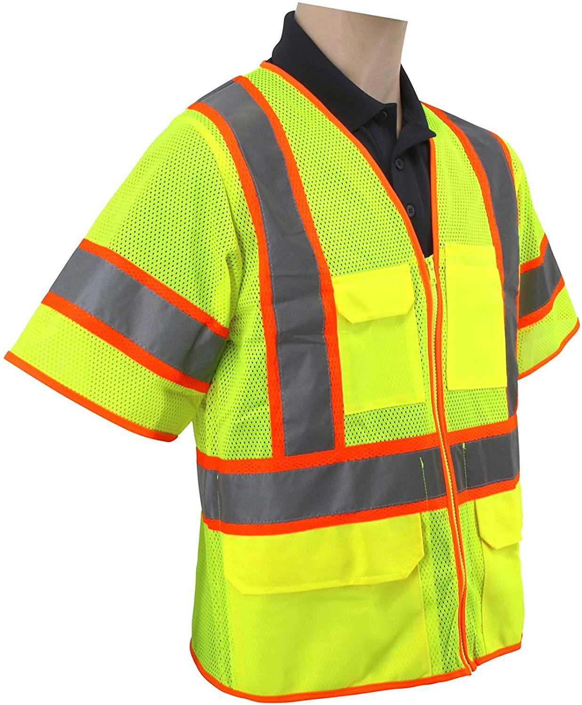 Brite Safety Style 1315 | Heavy Duty Multi-Pocket Reflective Safety Vest | PPE HiVis Surveyor Vests | ANSI 107 Class 3 Compliant | For Men or Women (6XL, Hi Vis Yellow)