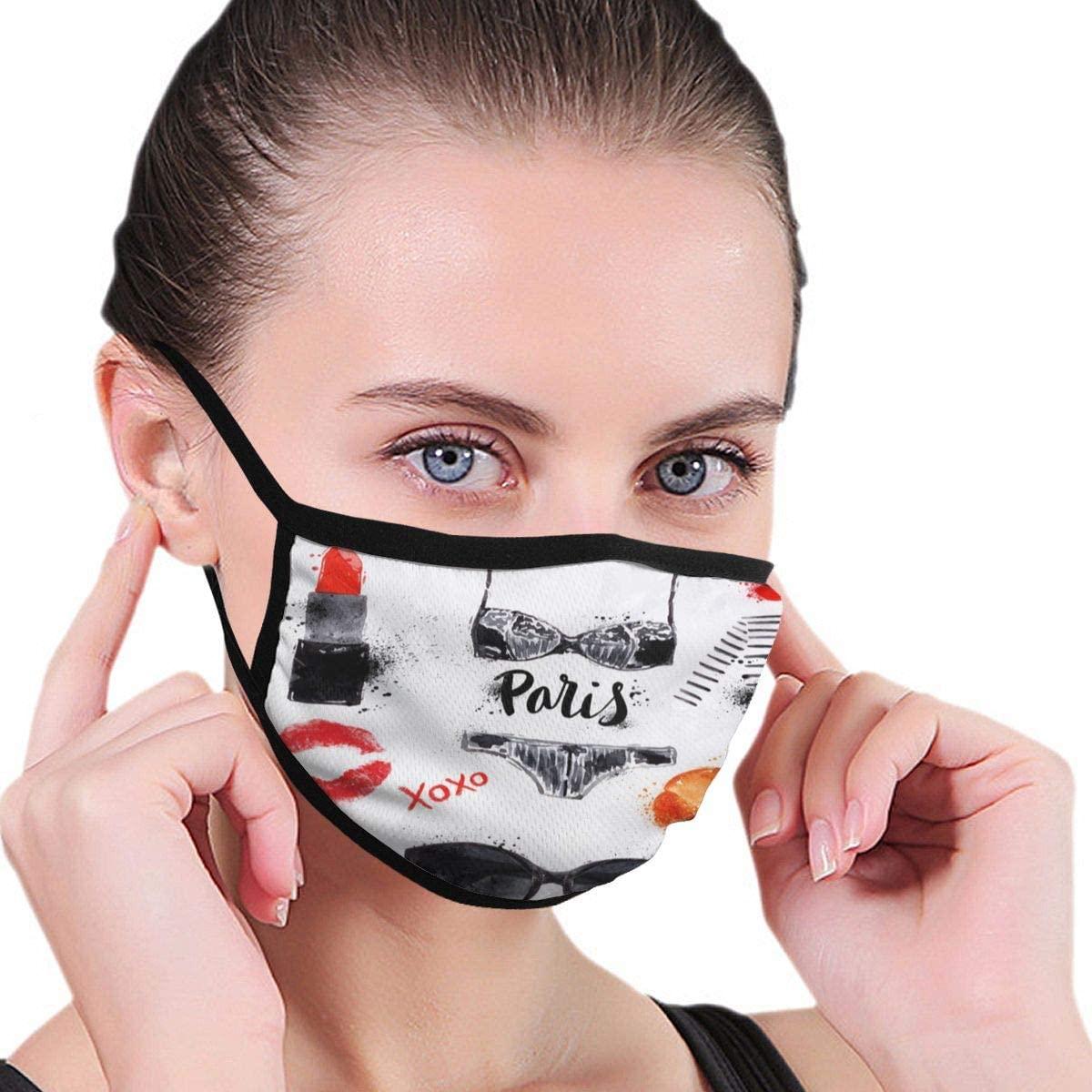 Doumku Mouth Cover Eiffel Tower Glasses Lipstick Shoes Lingerie Dust Breathable Reusable Ear Loop Mouth Protection Cover For Men Women
