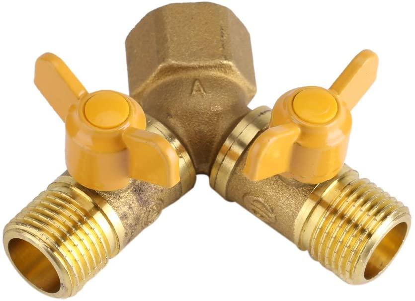 Duokon G1/2 Brass Garden Irrigation 2 Way Double Tap Hose Adapter Dual Faucet Connector Brass