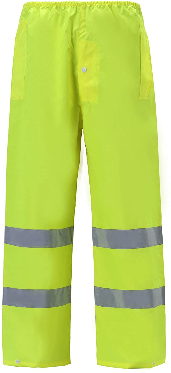 Lightweight High Viz Rain Pants for Men and Women Waterproof Work Wear Water Resistant (Small, Lime, 1 Piece)