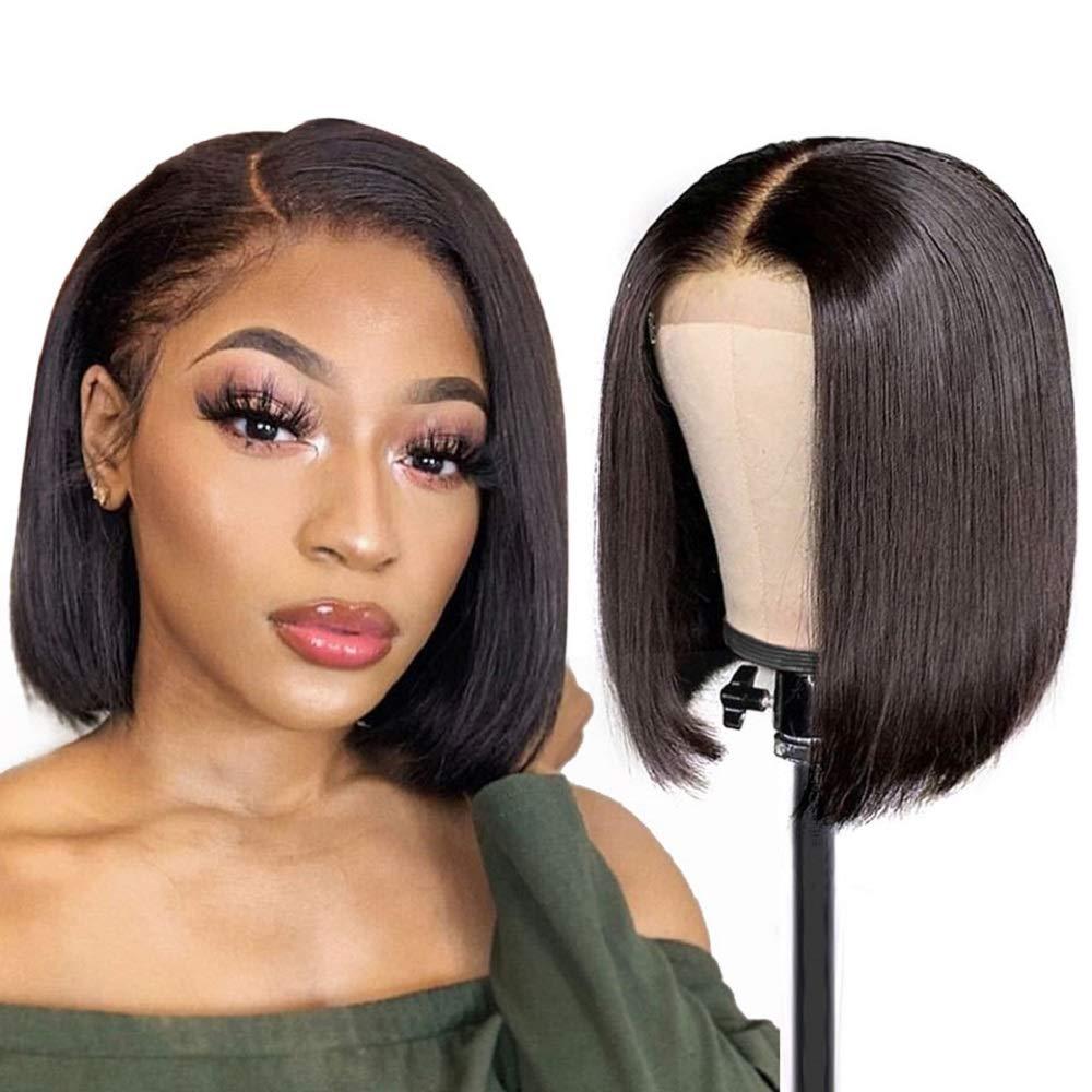 Allnice Short Bob Wigs 4X4 Lace Front Human Hair Wigs Brazilian Virgin Hair Straight Bob Wigs For Black Women 130% Density Natural Color (10inch)